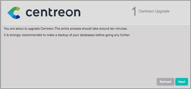 Processus de mise à jour Centreon via l'interface Web.