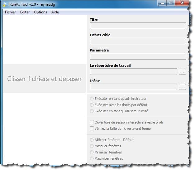 Il suffit d'un simple glisser/déplacer dans RunAsTool pour utiliser une application en mode administrateur