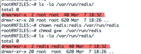 Affecter les bons droits aux fichiers de Redis-server