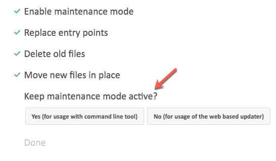 activation du mode maintenance de Nextcloud