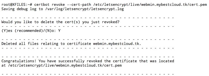 Supprimer un certificat de son serveur grâce à la commande certbot revoke