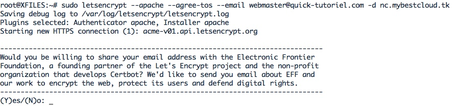 obtenir un certificat TLS / SSL gratuit avec Let's Encrypt