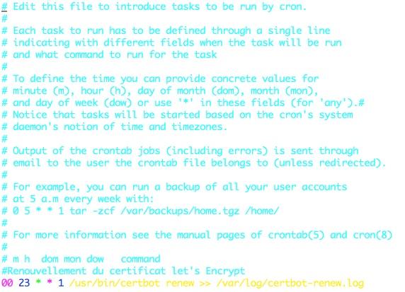 Création d'une tâche CRON pour renouveler le certificat Let's Encrypt automatiquement