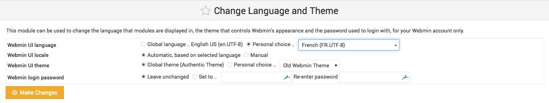 Mettre Webmin en Français.