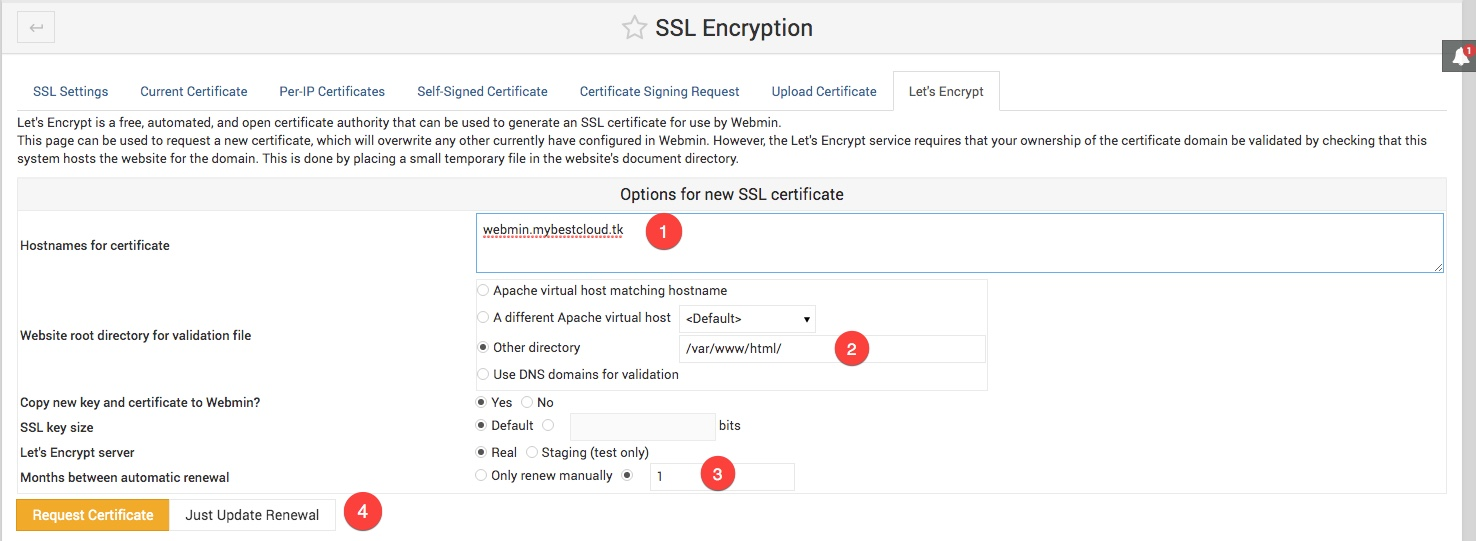 Passer l'interface de webmin en HTTPS avec Let's Encrypt.