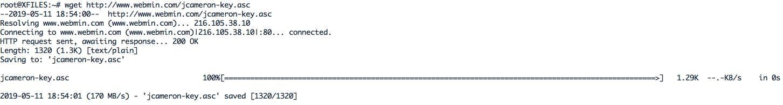 installer la clé GPG avec laquelle le référentiel est signé pour Webmin