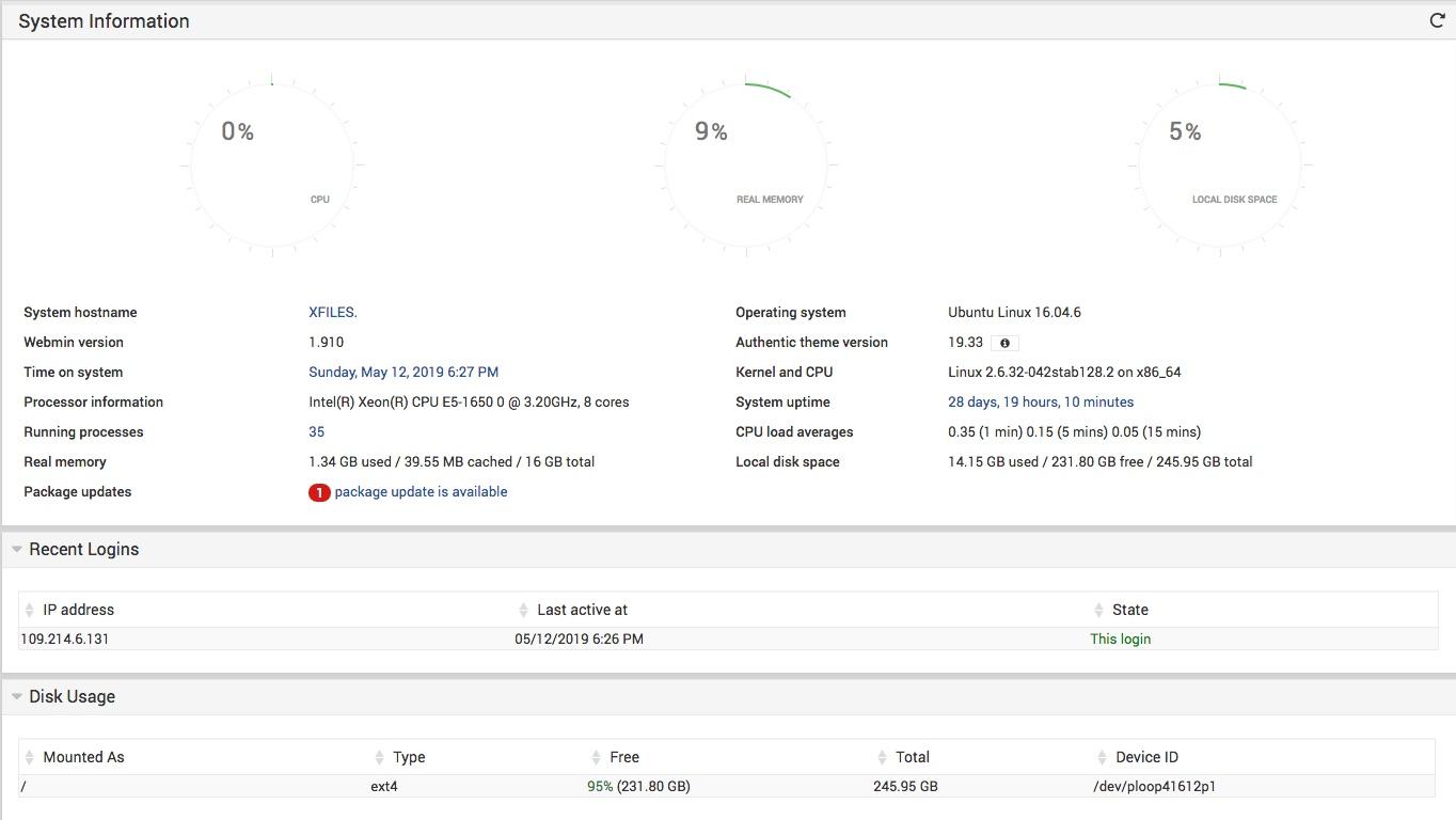 Page d'accueil de Webmin