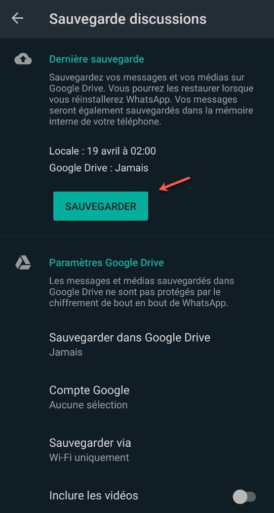 Utiliser la fonctionnalité de sauvegarde de WhatsApp.