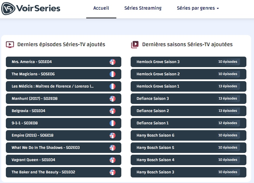 Regardez en streaming et téléchargez des séries gratuites sur VoirSeries. Vivez votre passion du streaming gratuitement et de la meilleure qualité possible !