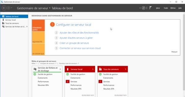 Tableau de bord de Windows Server
