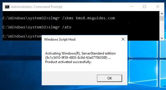 Activer gratuitement Windows Server 2016 grâce à un serveur KMS public