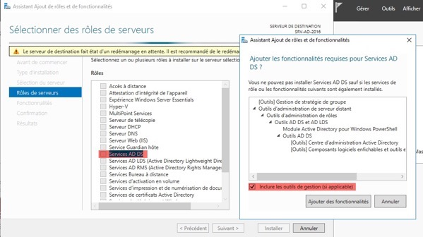 Installer le service AD DS avec les outils de gestion sur Windows Server 2016