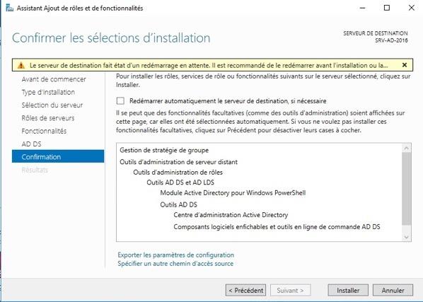 Installation de Active Directory et un serveur DNS