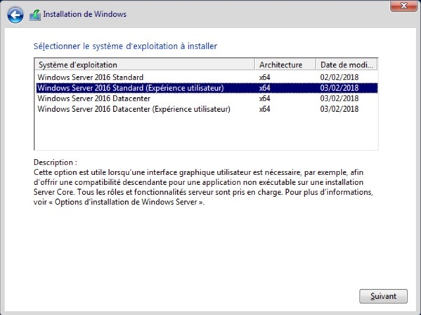 Installation de Windows Server 2016