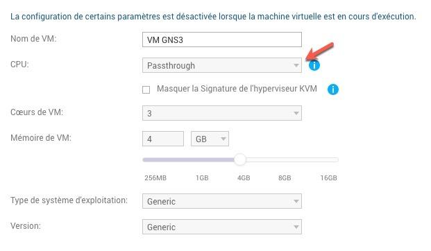 Sur votre VM dans Virtualization Station, vous devez modifier le paramètre du CPU à Passthrough pour activer la Nested Virtualization