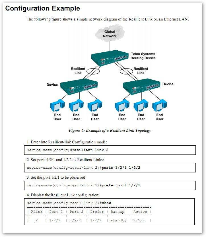 Création d'un lien de backup (Resilient Link) sur un T-Marc 250 de Telco