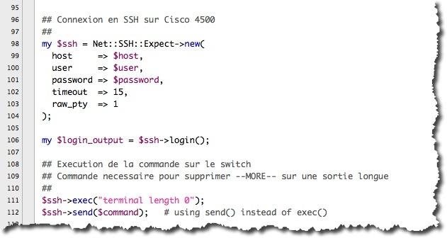 Exemple de code PERL pour une connexion SNMP à un switch Cisco