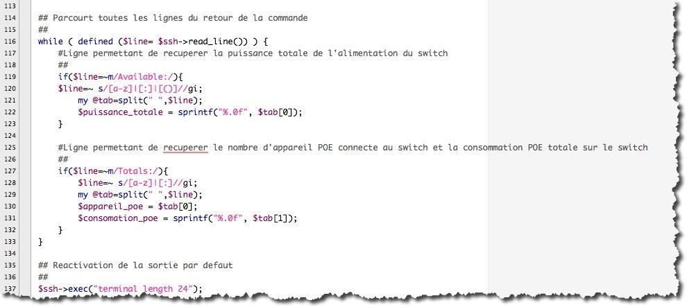 Exemple de code PERL avec une boucle while pour parcourir tous les ports d'un switch et récupérer des informations.