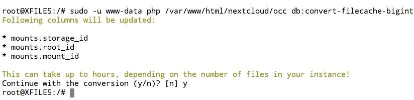 Convertir les colonnes de la base de données Nextcloud en big int.