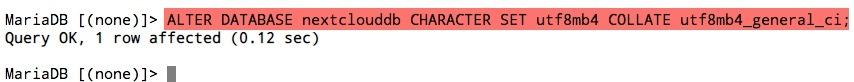 Modifiez le jeu de caractères et la collation de vos bases de données Nextcloud