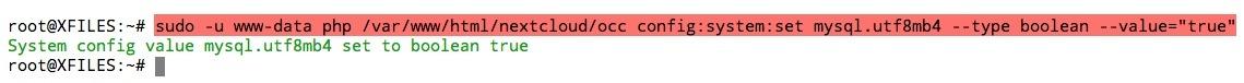 Réglez la configuration du paramètre mysql.utf8mb4 sur true dans votre config.php de votre instance Nextcloud