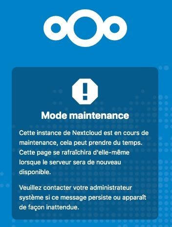 Activer le mode de maintenance de Nextcloud