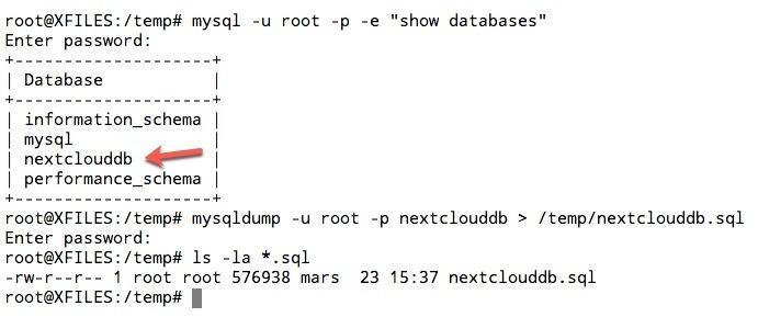 Sauvegarde de la base de données Nextcloud