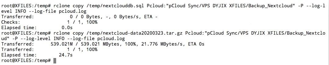 Sauvegarde de la base de données Nextcloud avec Rclone