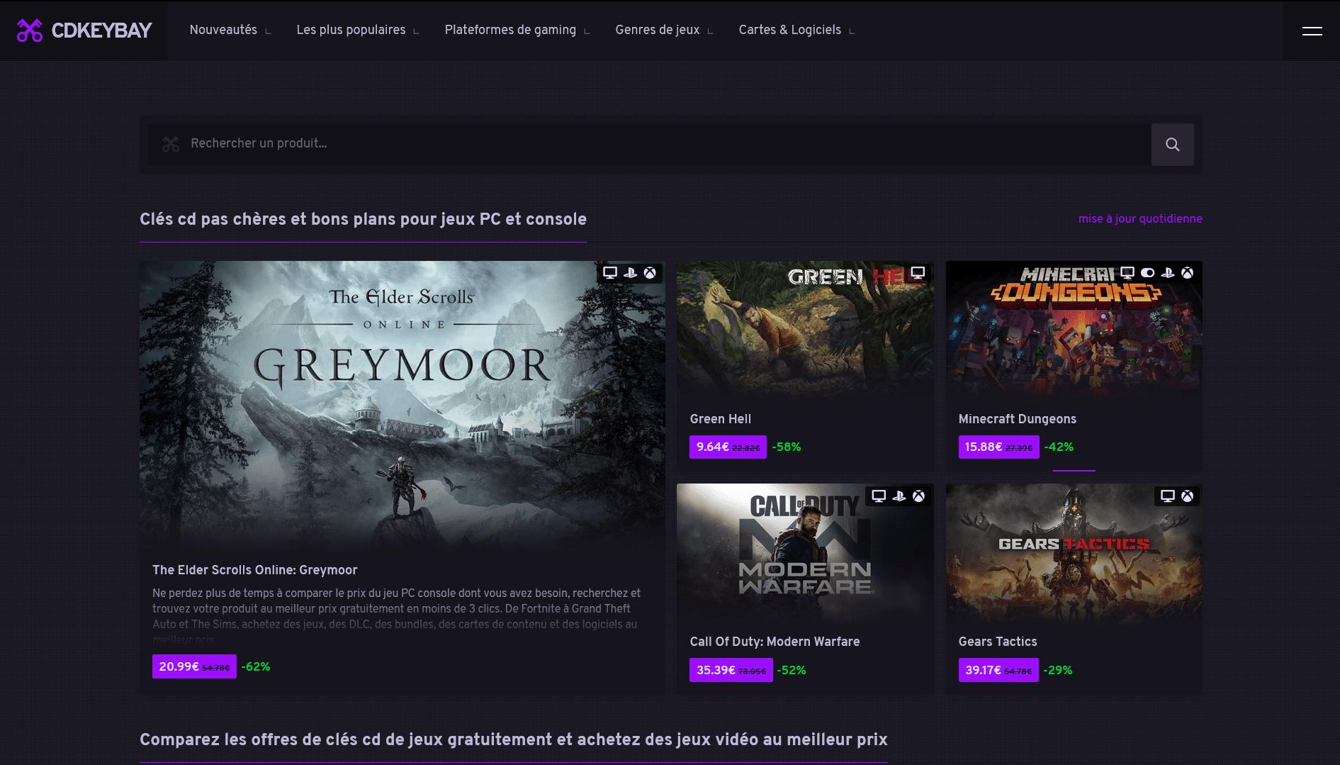 Comparez tous les jeux vidéo par prix avec Cdkeybay