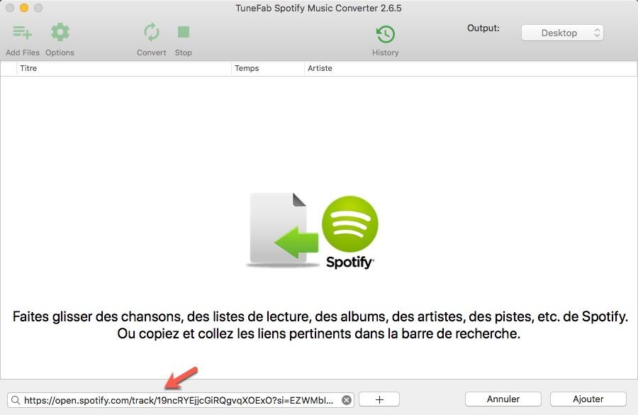 Copier et coller le lien de la musique dans la barre de recherche de TuneFab Spotify Converter