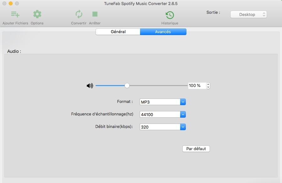 Sélectionner le format de sortie dans TuneFab Spotify Converter