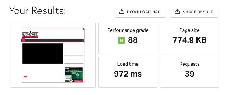 Résultat Test PingDom Tools avec XtremCache d'activé