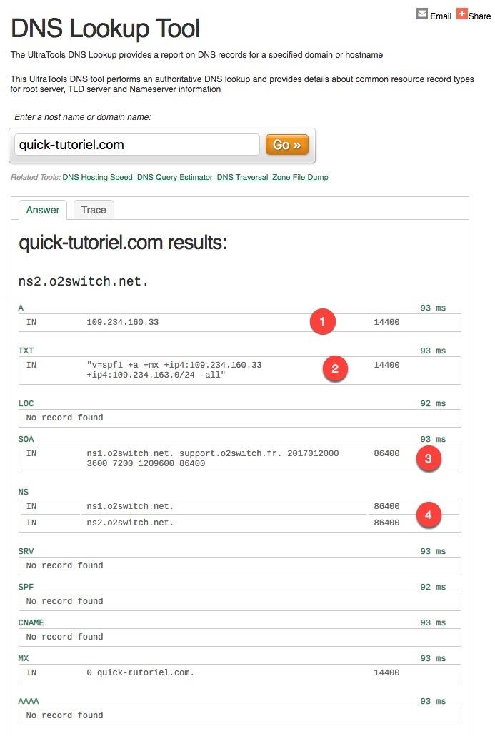 Utiliser l'outil en ligne DNS Lookup Tool pour connaitre les DNS de votre Blog