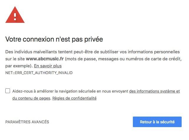Erreur SSL à la suite de l'activation de XtremCache