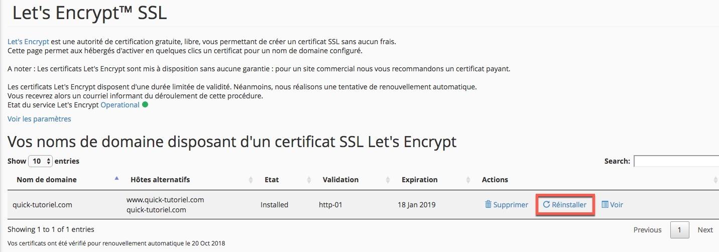 Réinstaller votre certificat Let's Encrypt depuis votre compte Cpanel