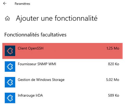 Utiliser le client SSH natif de Windows 10