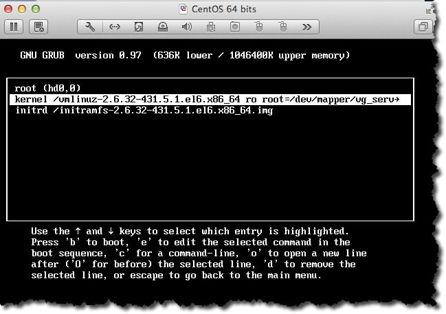 faire un reset du password root sous CentOS depuis le menu Grub
