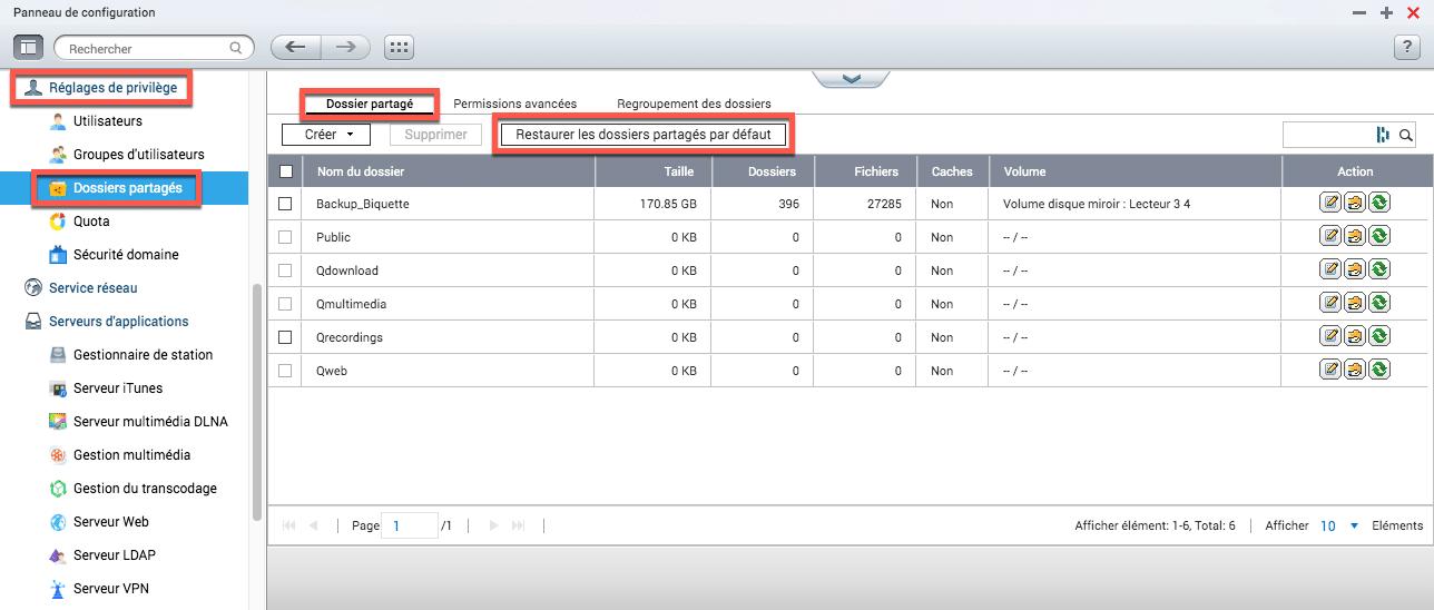 Erreur App Default volume is not available sur un NAS QNAP
