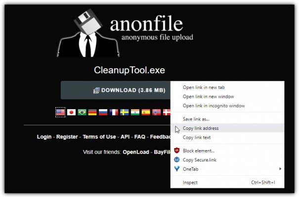 Hébergeur de fichiers Anonfiles