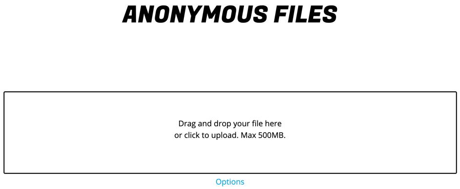 Hébergeurs de fichiers AnonymousFiles