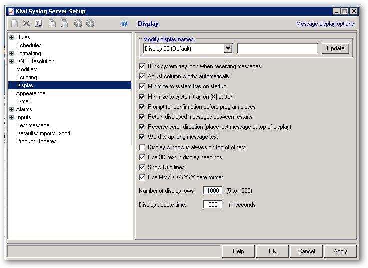 Les options display du serveur syslog Kiwi Server Syslog