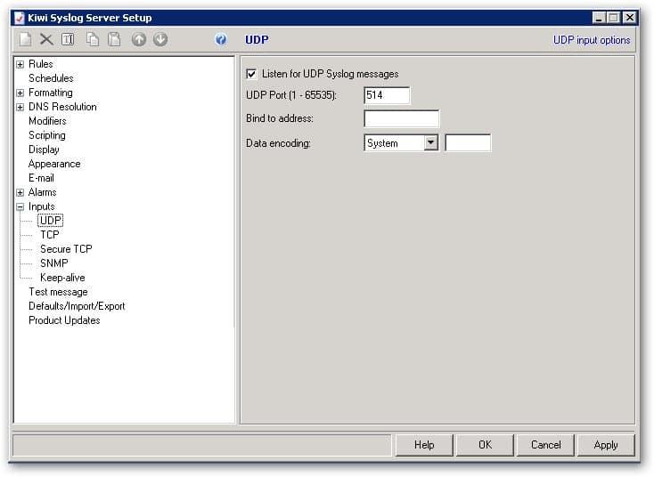 Déployer Inputs dans Kiwi Server Syslog