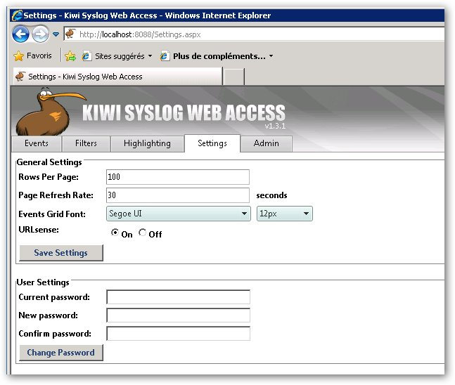 Accès au web access de Kiwi Syslog Server