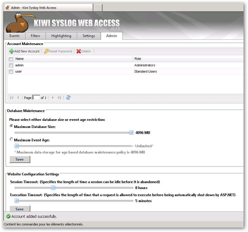 Création des comptes dans Kiwi Syslog Web Access