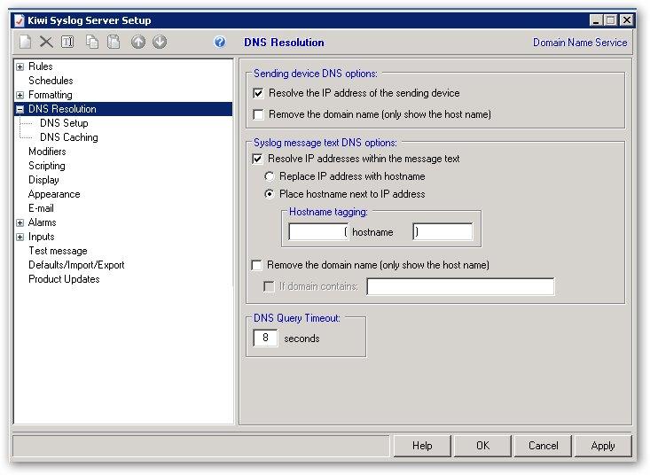 Déployer DNS résolution avec Kiwi Syslog Server