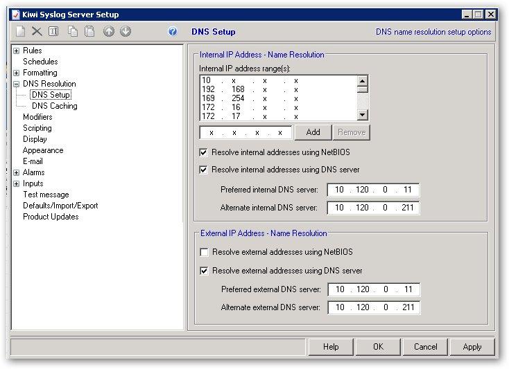 paramétrer les serveurs DNS dans Kiwi Syslog Server