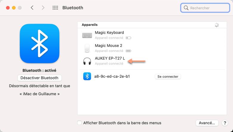 Connexion bluetooth immédiate avec les écouteurs Aukey