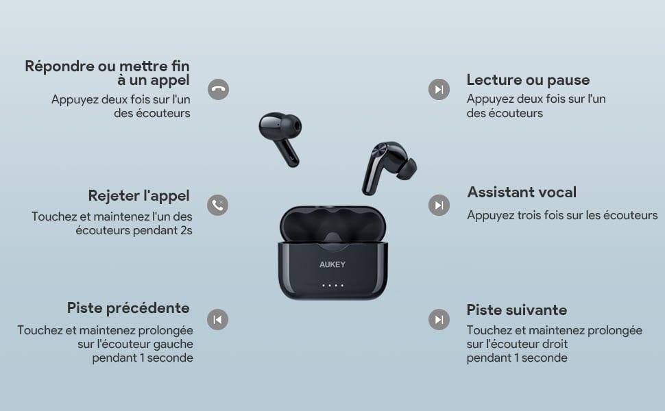 Les différentes options de communication des écouteurs Bluetooth AUKEY EP-T27