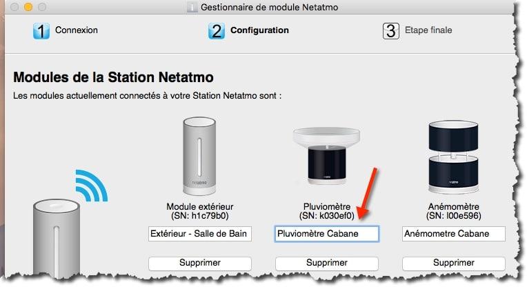Renommer le module pluviomètre Netatmo