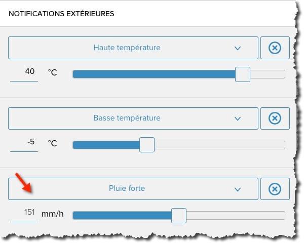 Régler les notifications dumodule pluviomètre Netatmo